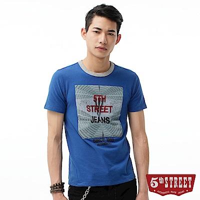 5th STREET 漩渦印花植絨短袖T恤-男-藍色