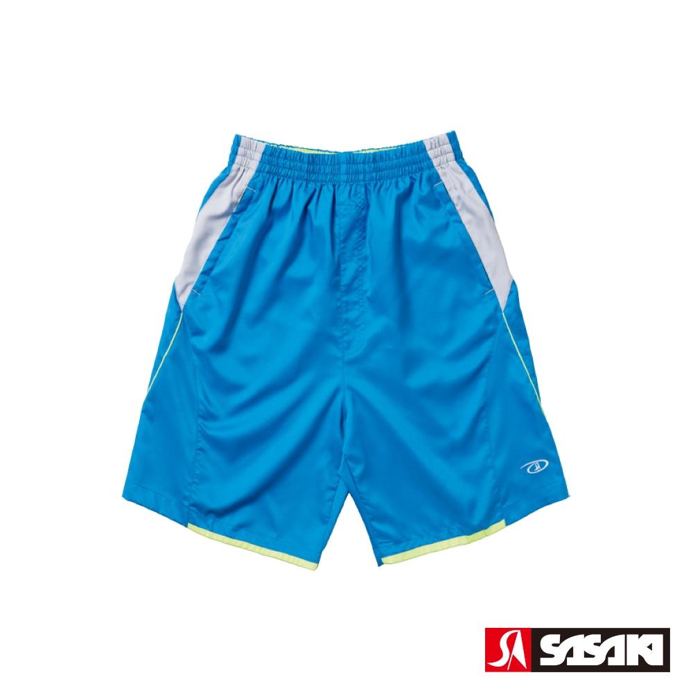 SASAKI 透氣式專業伸縮網球短褲-男-亮藍/艷黃