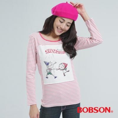 BOBSON  女款印圖.條紋上衣-粉紅