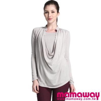 Mamaway-開襟垂領造型孕婦裝-哺乳衣-共二色