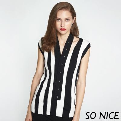 SO NICE個性領帶條紋針織上衣