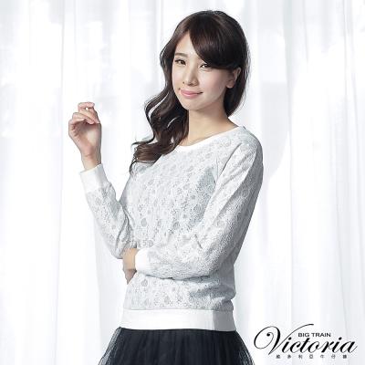 Victoria 蕾絲貼合布拉克蘭長袖T-女-白色