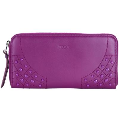 TOD'S 豆豆車縫牛皮拉鍊長夾(紫色)