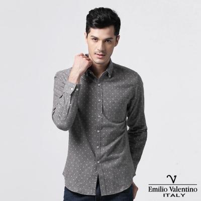 Emilio Valentino 范倫提諾磨毛設計圖騰襯衫-灰
