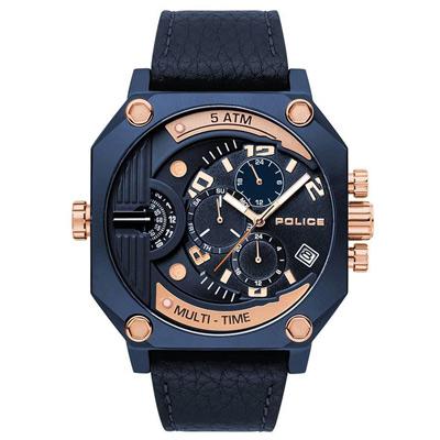 POLICE 冷冽科技雙時區皮革手錶-藍X玫瑰金/50mm