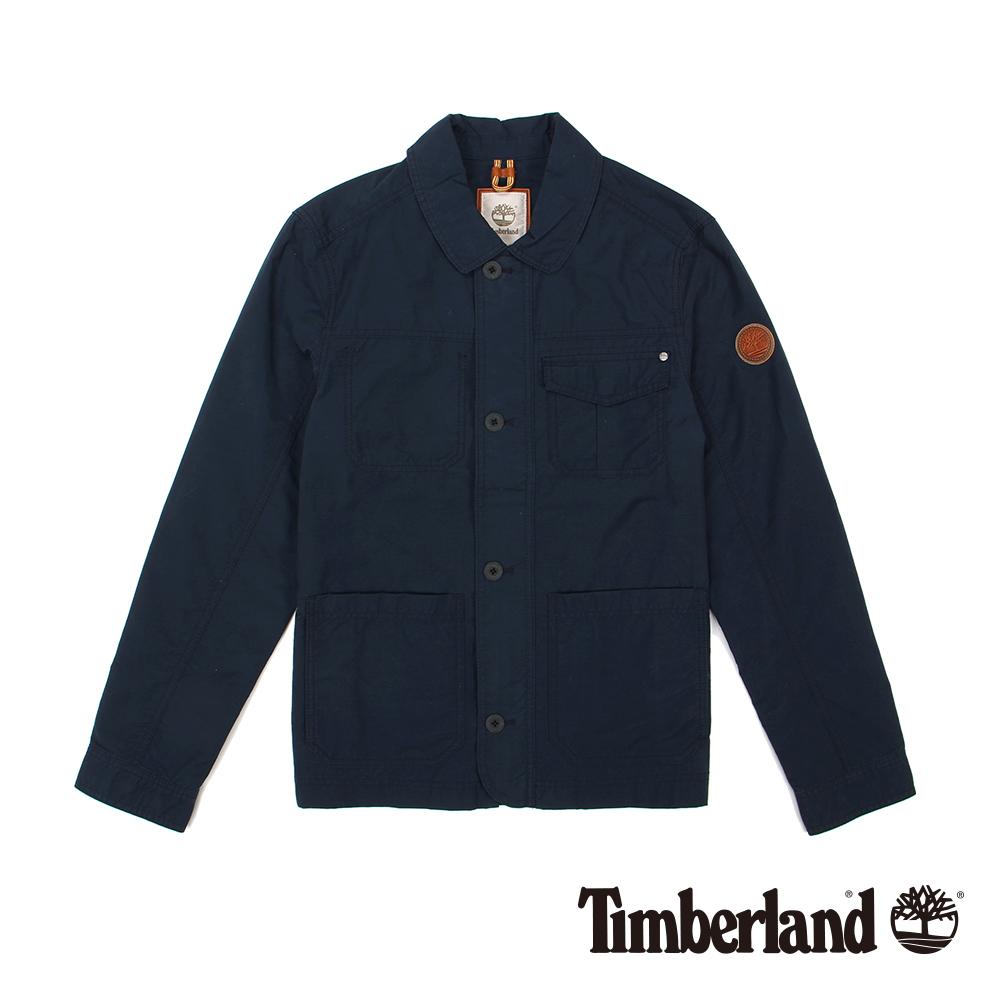 Timberland 男款深藍色素面雙層防風雨外套