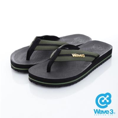 WAVE3【男】獨家設計LOGO球紋人字夾腳拖鞋~黑綠