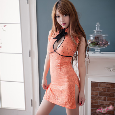 角色扮演服-亮橘性感網紗刺繡旗袍二件組-Lorra
