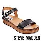 STEVE MADDEN-AIDA 真皮一字繫帶厚底涼鞋-黑色