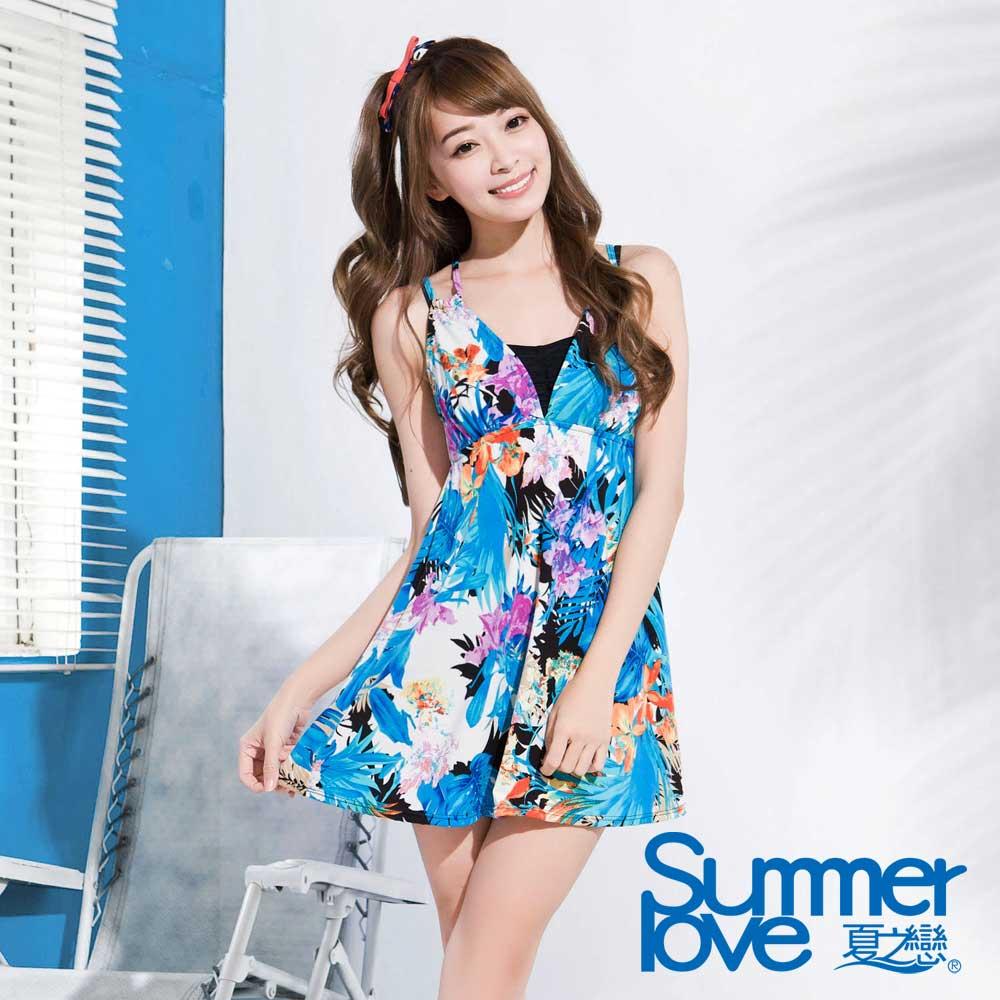 夏之戀SUMMERLOVE 比基尼泳裝 藍色連身裙含黑色比基尼 三件式