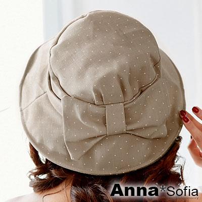 AnnaSofia 水玉點點俏結 遮陽防曬漁夫帽盆帽(奶茶系)