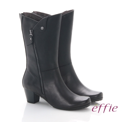 effie 魅力時尚 全真皮帥氣經典騎士中筒靴 黑