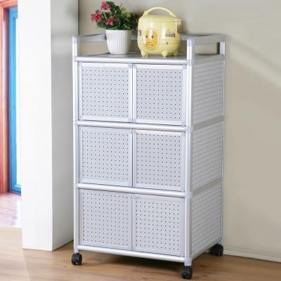 Homelike 鋁合金2尺六門收納櫃-黑花格-64x51x115cm