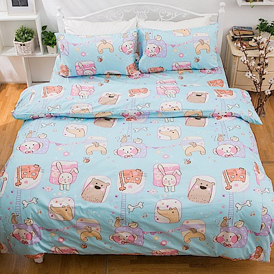 kokomos扣扣馬 鎮瀾宮大甲媽授權精梳棉205織紗雙人加大床包被套四件組 Q萌-粉藍