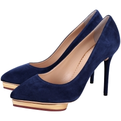 Charlotte Olympia Debbie 麂皮心型底台設計細跟鞋(藍色)