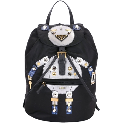 PRADA Nylon Robot 機器人圖案尼龍後背包(中/黑x銀)