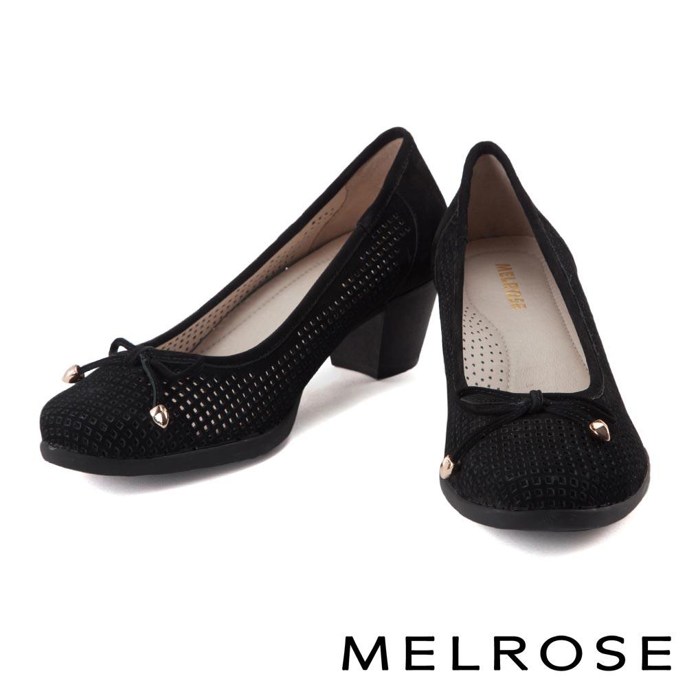 高跟鞋 MELROSE 復古蝴蝶結沖孔牛皮高跟鞋-黑