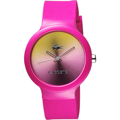 LACOSTE 時尚幻彩系列漸層腕錶-黃x桃紅/40mm