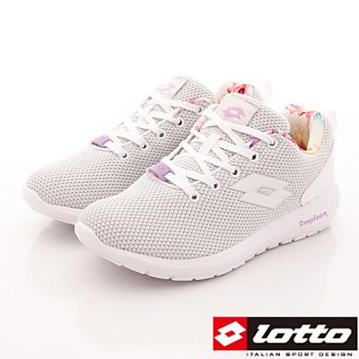 Lotto樂得-記憶泡綿跑鞋款-FI079白(女段)