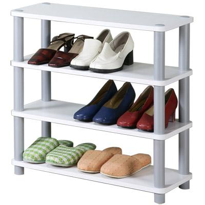 Homelike 簡約四層開放式鞋架-白色