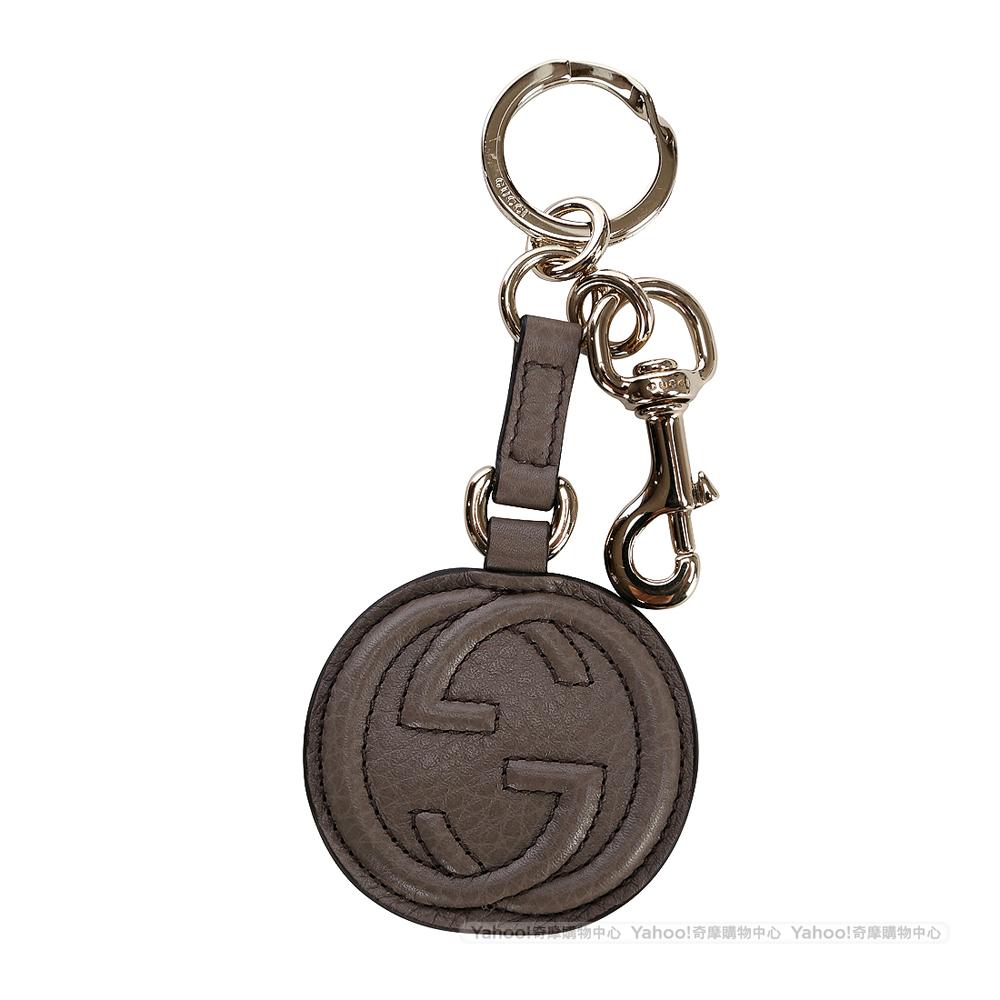 GUCCI 雙G Logo圓形鑰匙圈(灰色)