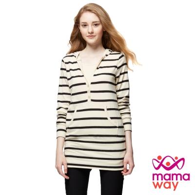 mamaway媽媽餵 經典款橫紋連帽長版孕哺上衣(共3色)