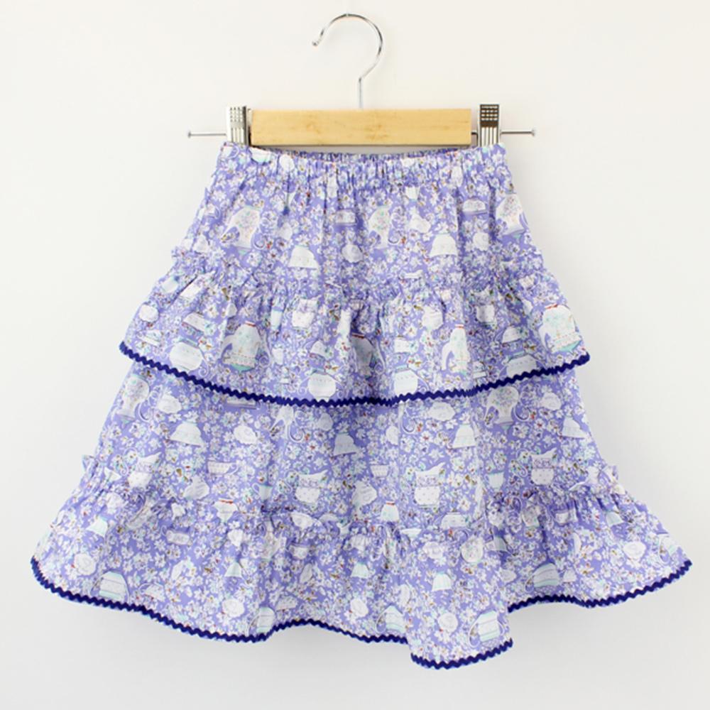 愛的世界 純棉鬆緊帶午茶印花蛋糕裙