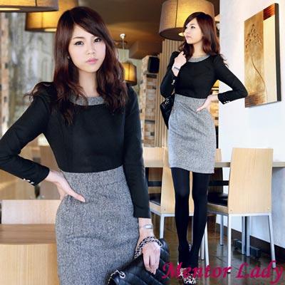 【Mentor Lady】細格紋及膝窄裙毛料洋裝 (黑色)