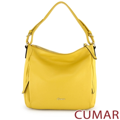 CUMAR 荔枝紋牛皮雙拉鍊側肩HOBO包-黃色