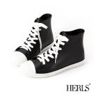 HERLS 雨季必備 帆布款高筒綁帶雨鞋-黑x白