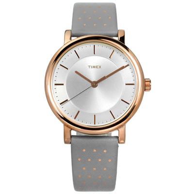 TIMEX 天美時 美國指標復古典雅圓點造型真皮手錶-銀白x玫瑰金框x灰/38mm