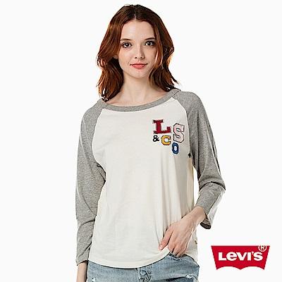 圓領七分袖上衣 女裝 拼接圖案 - Levis