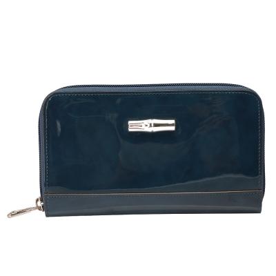 LONGCHAMP 經典Roseau Box系列漆皮拉鍊手拿長夾(西洋杉藍)