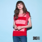 SNS 熱情活力粗細條紋拚接連袖線衫(2色)