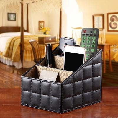幸福揚邑 精品歐式方格紋皮革遙控器化妝品飾品三格桌面收納盒-時尚黑