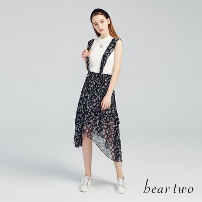 beartwo 浪漫碎花不規則下擺吊帶裙(二色)-動態show