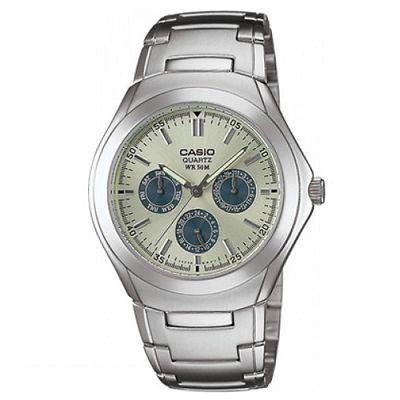 CASIO 都會風三眼全日曆時尚腕錶(MTP-1247D-9A)-淡黃x藍錶圈/40mm