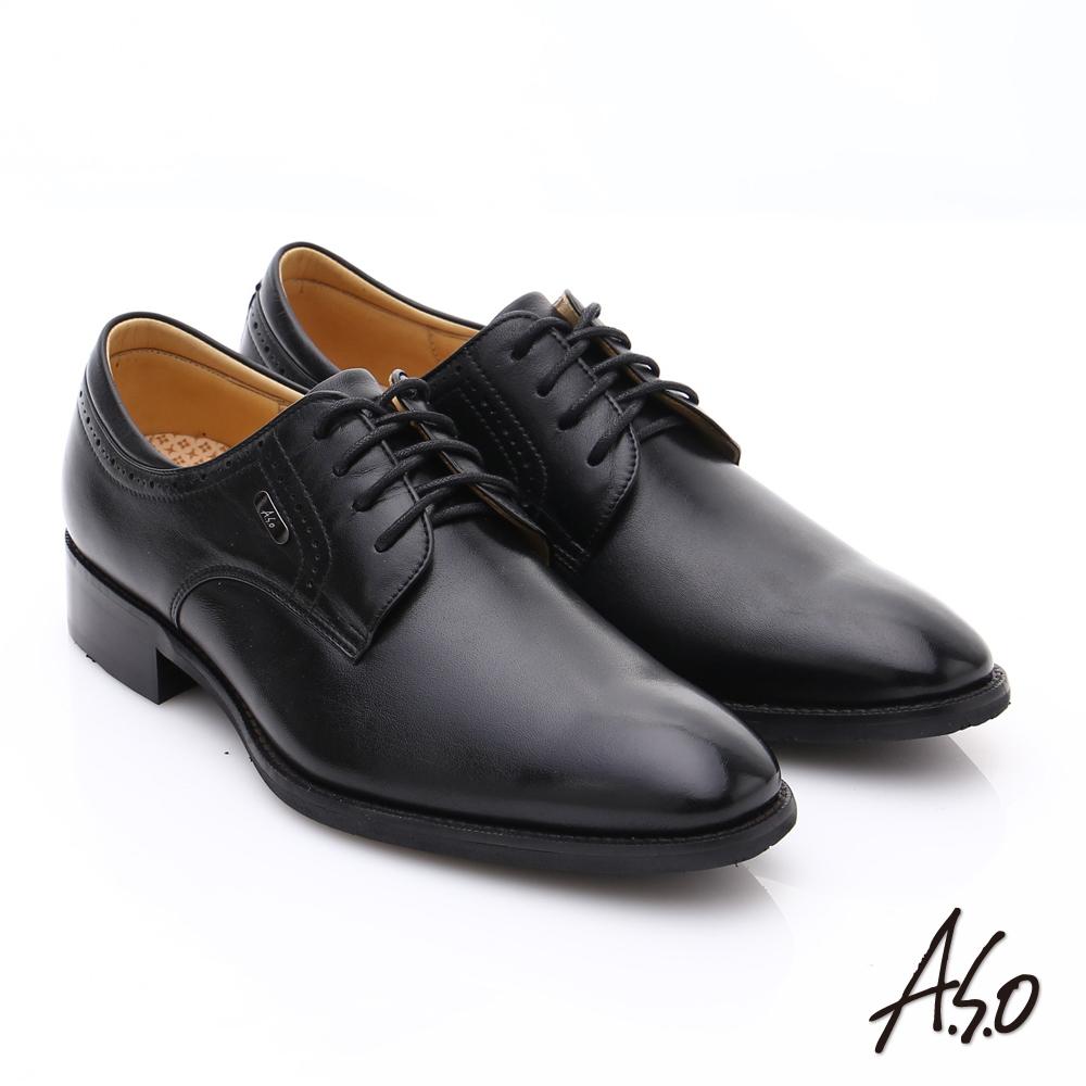 A.S.O 超輕雙核心 綿羊皮綁帶紳士皮鞋 黑色