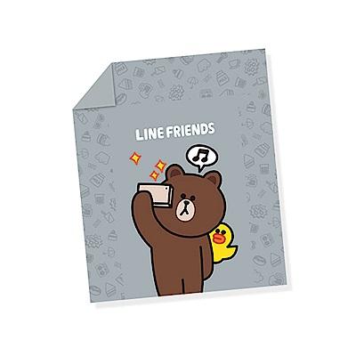 享夢城堡 雙人涼被5x6-LINE FRIENDS 熊大愛自拍-灰.綠
