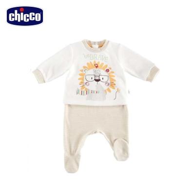 chicco卡其獅條紋褲長袖套裝(3個月-12個月)