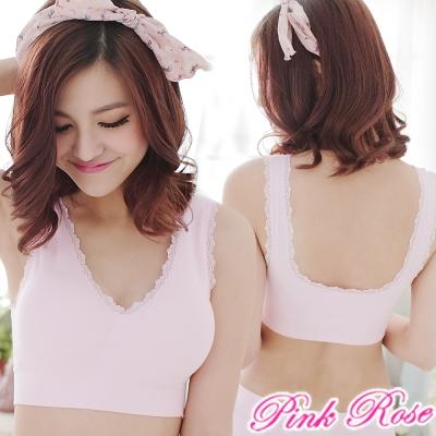 粉紅薔薇-透氣無痕-舒適無鋼圈運動內衣-粉
