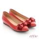 effie 個性美型 真皮蝴蝶結奈米平底鞋 洋紅色 product thumbnail 1