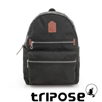 tripose 迷彩系列輕休閒多格層拉鍊後背包 黑
