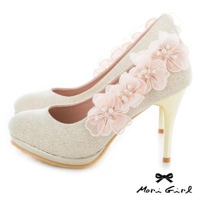 Mori girl 立體紗緞花飾高跟婚鞋 金
