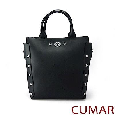 CUMAR 個性造型鉚釘手提/斜背包-黑