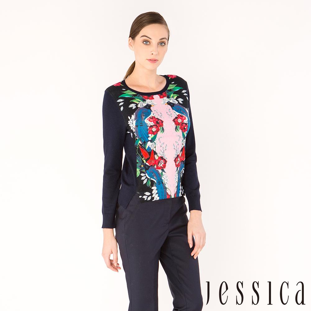 JESSICA - 繁花魅力印花針織上衣
