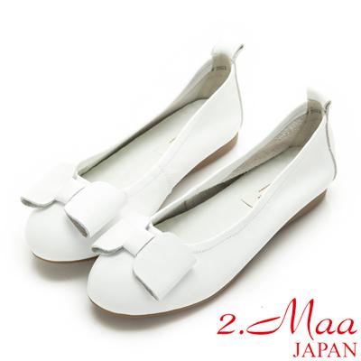 2.Maa-柔軟牛皮手工蝴蝶結娃娃鞋-白