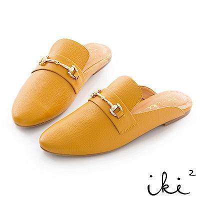 iki2 真皮 金屬扣環穆勒鞋-黃