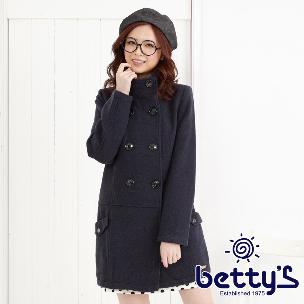 betty's貝蒂思 毛料排扣修身大衣(深藍)