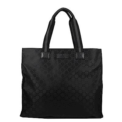 GUCCI GG LOGO織布直式購物包(黑)